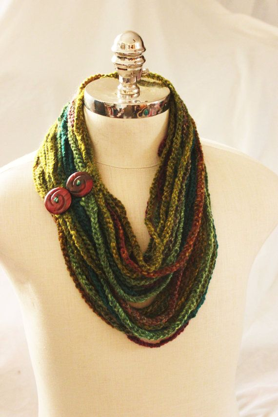 Crochet Chain Scarf, Chain Scarf, Spring Scarf, Scarf with Buttons
