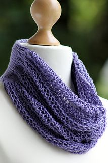 This lightweight, beautifully draped cowl is made with roughly 225 yards of dk/sport weight yarn and size US 3, 4, & 8 straight needles.