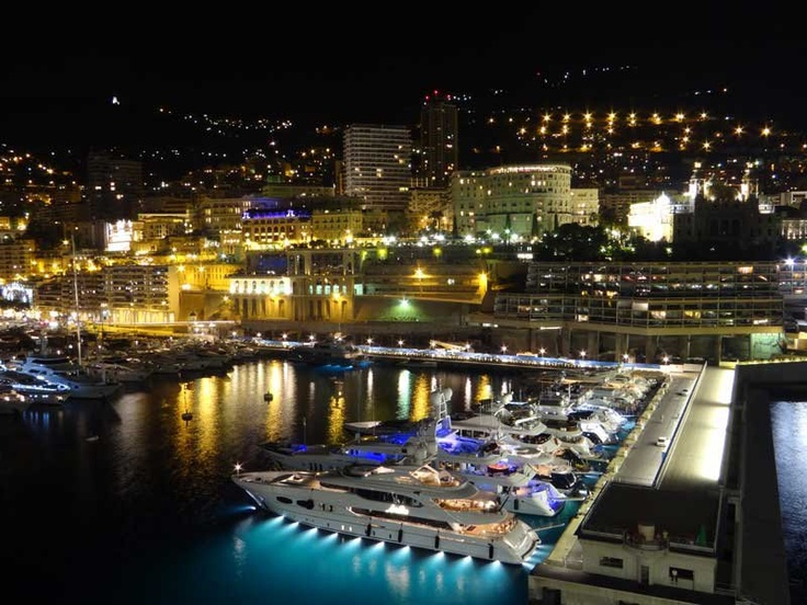 Monte Carlo Harbour at night.