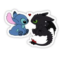 Stitch and Toothless Love Sticker