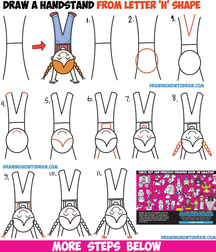 how to draw a cute cartoon kawaii girl doing a handstand from the letter h - Cartoon Kid Drawings