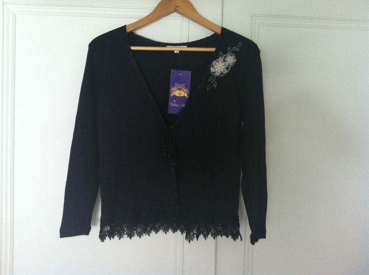 Classic Black Cotton Knit Lace Trim Cardigan 78% off -72HR CLICK FRENZY SPECIAL