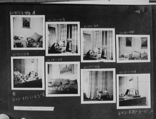 Some pages from Eva Braun's photo albums which she lovingly tended to for most of her life. The bottom photos show the Berghof and Eva's private rooms.