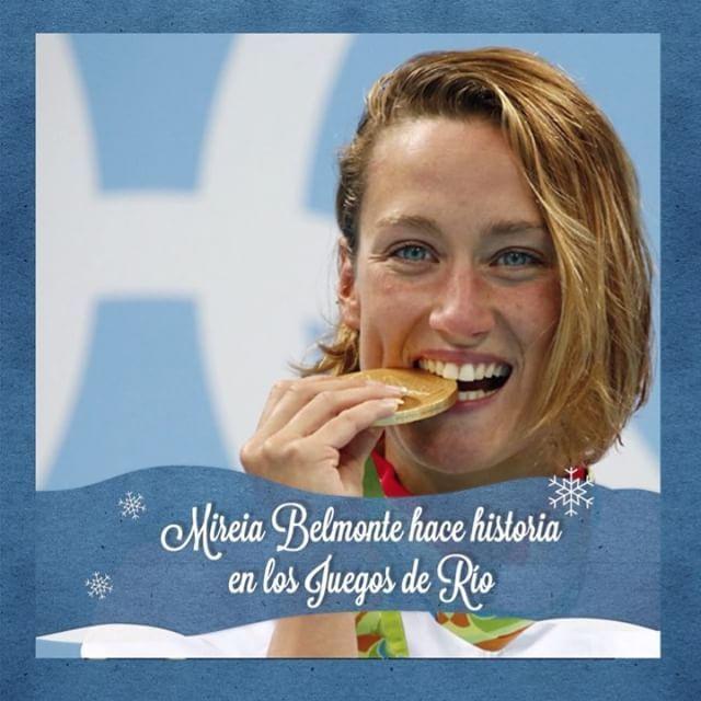 Los atletas españoles nos han dado grandes alegrías este año en los Juegos de Río. @missbelmont hizo historia al convertirse en la primera nadadora española en colgarse una medalla de oro olímpica.  #mireiabelmonte #calendariodeadviento #adviento #2016 #Rio2016