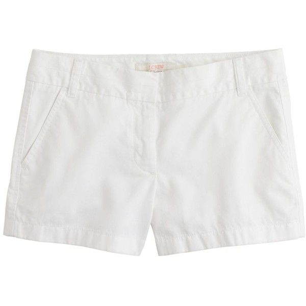 "J.Crew 3"" Chino Short ($53) ❤ liked on Polyvore featuring shorts, bottoms, white, chino, jcrew, chino shorts, zipper shorts, j.crew, j. crew shorts en white short shorts"