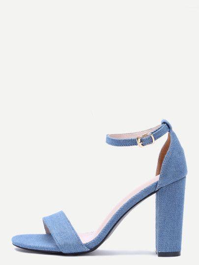 Sandalias de denim con tira en tobillo - azul Only US$32.00