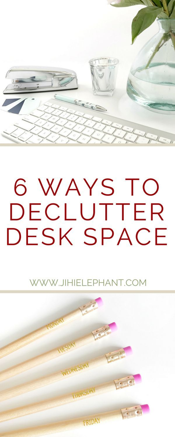 """Piles upon piles of papers, sticky notes, and who knows what else can make your desk space stressful and cluttered (aka impossible to use). Your new year's resolution was to """"get organized"""" but you just can't seem to figure out where to start and it's discouraging. Lucky for you, I have just the cure! Here are 6 ways to declutter your desk space."""