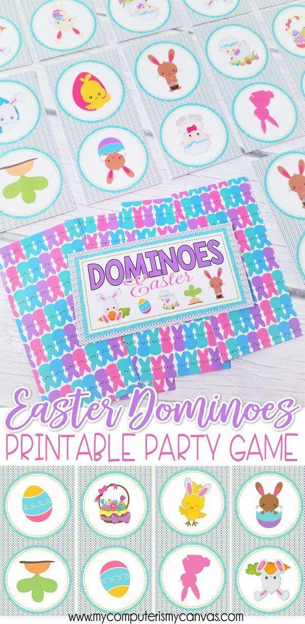 Easter Basket Stuffer, Easter Game, Easter Gift Idea, Easter Activity, Egg Hunt Activity, PRINTABLE Dominoes Game #mycomputerismycanvas
