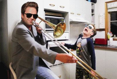when my son started playing random christmas songs on his trumpet, I started banging the oven door.  wife jumps out of her skin asking wth. son smiles and keeps playing. awesome dad moment.