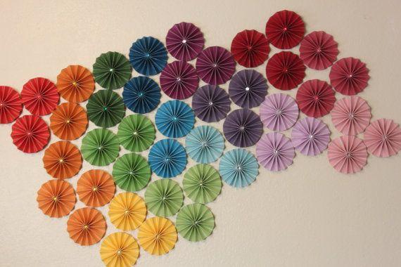 Rainbow Ombre Fan Flower Rosette Paper Medallion Birthday