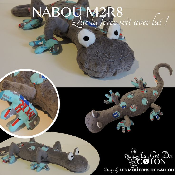 #Nabou M2R8 adopté   Décembre 2015 Patron : Les Moutons de Kallou Tissus : Minkee gris à relief pois et coton robot