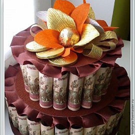 Купить Денежный торт - комбинированный, как подарить деньги, денежный подарок, денежный торт, оригинальный подарок