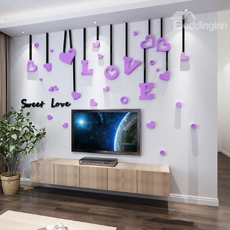 3D Sweet Love Acrylic Waterproof Sturdy And Eco Friendly Wall Stickers