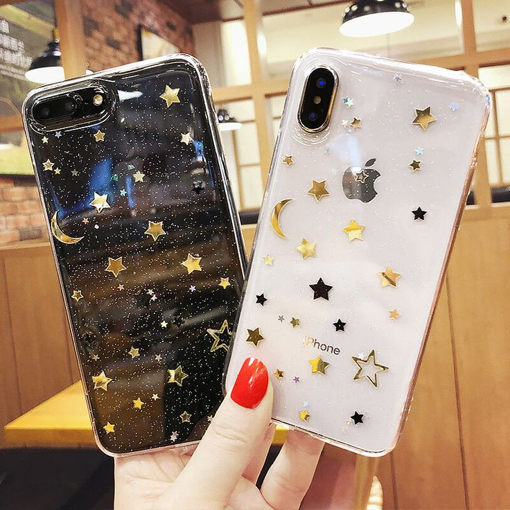 Luxury Glitter Star Clear Back Phone Case Cover Fo…