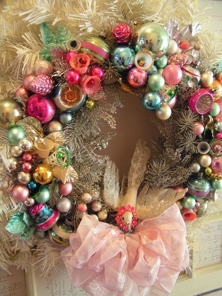 Another Wreath Or 2 Vintage Christmas Ornamentsshabby
