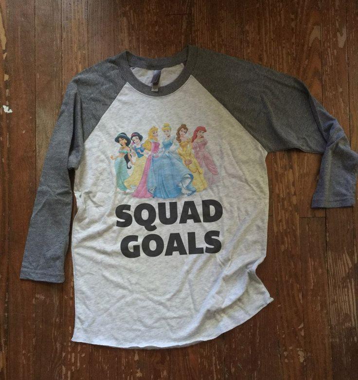 Disney Princesses Ringer Tshirt - SQUAD GOALS - Unisex Baseball Tee