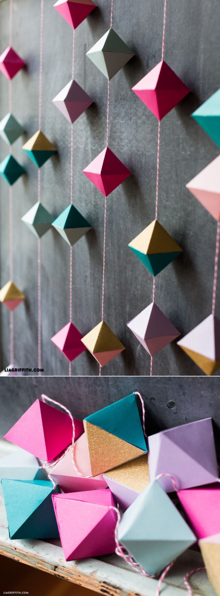 Vector bunting flags lovely celebration card with colorful paper - Diy Paper Geode Garland