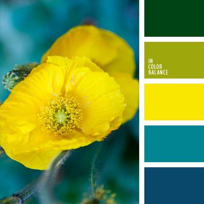 amarillo neón, amarillo vivo, azul oscuro, azul turquí, azul verdoso, color aguamarina, color cerceta vivo, combinación contrastante de tonos fríos y cálidos, de color verde lechuga, elección del color, tonos verdes, verde azulado, verde y verde lechuga.