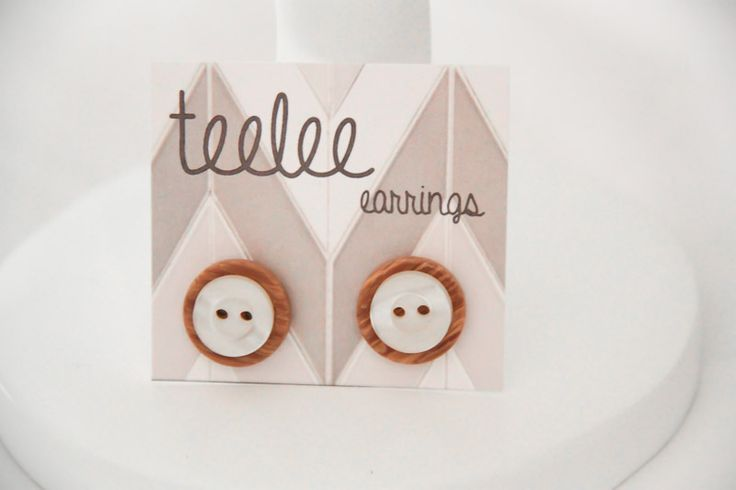 Brown & Beige Button Earrings - Teelee - A Bits & Bobs Brand