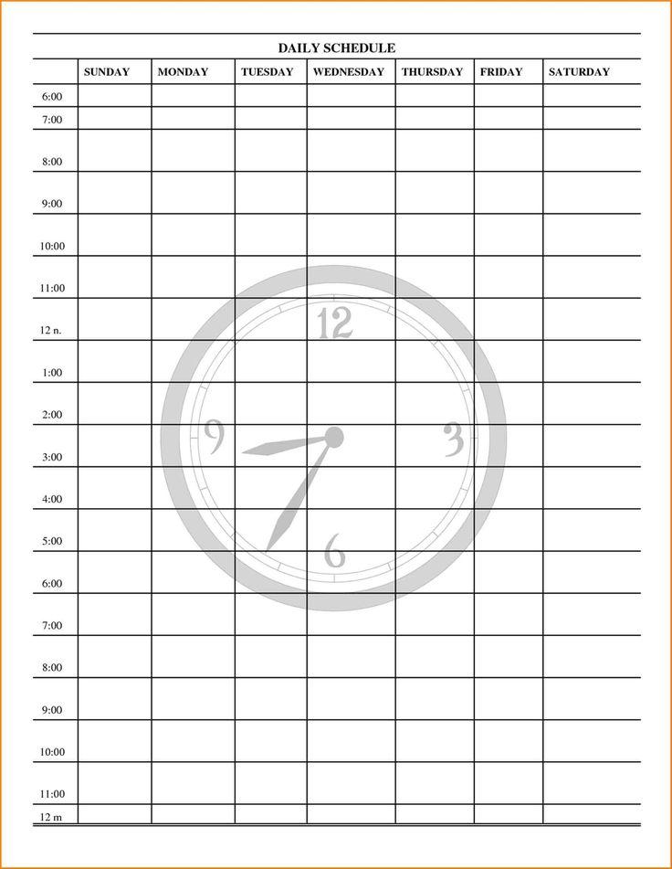 hour by hour calendar template