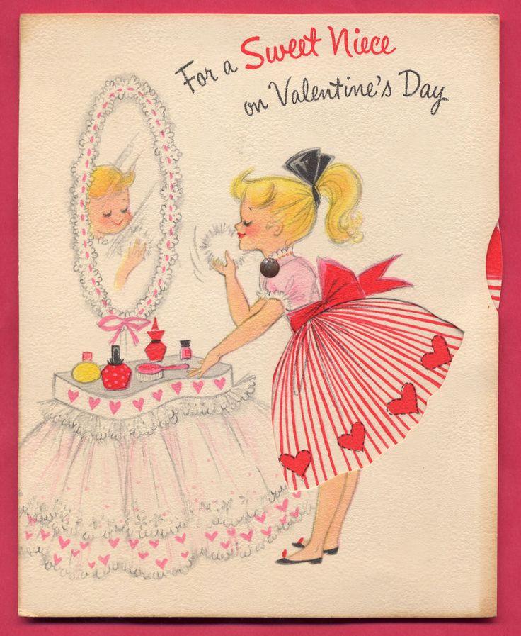 Vtg 1960s Sweet Niece Valentine Hallmark Greeting Card w/ rotating dresses wheel