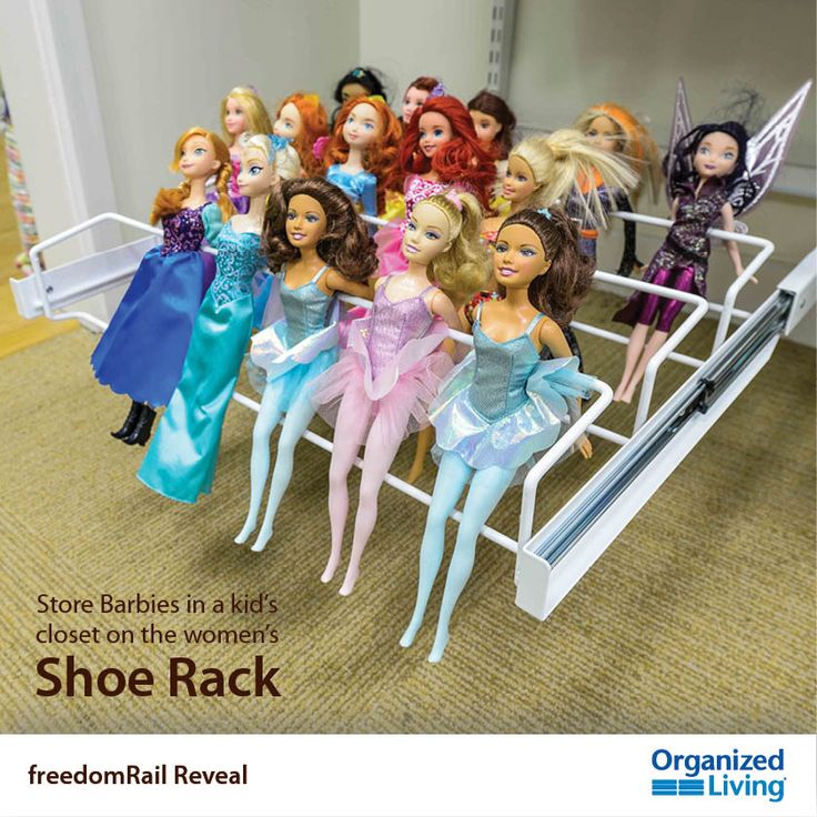 28 unexpected ways to use freedomRail Reveal accessories: Tip #3 - store Barbies on the Reveal Women's Shoe Rack. More tips: https://www.organizedliving.com/home/products/freedomrail/new-products