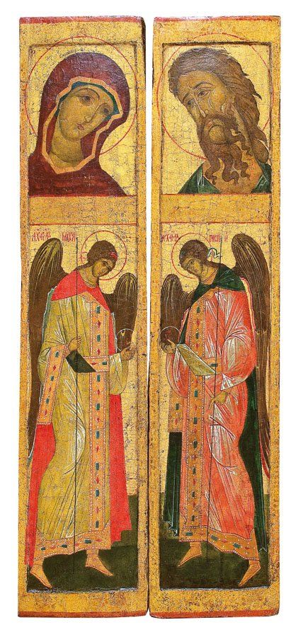 Icons from the Deisis row of an iconostasis, Russian (Novgorod), 16th century, tempera on wood panel, 112.5 x 25.5 cm