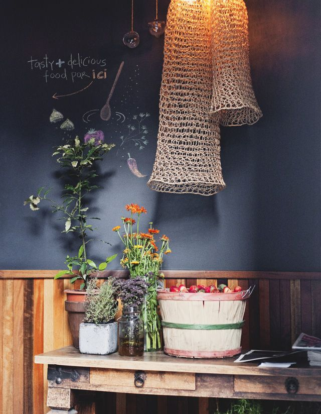 woven fish net lampshades at Olive + Gourmando, Montreal