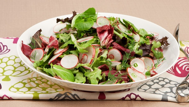 Eat more greens + a make-ahead dressing. Mixed Greens with Lemon Dill Vinaigrette