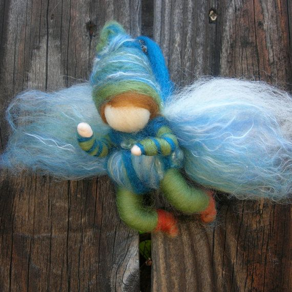 Fairy Boy Bendy Needle felted wool soft sculpture Elf -Waldorf Inspired by Rebecca Varon - lovely to see a little boy fairy!