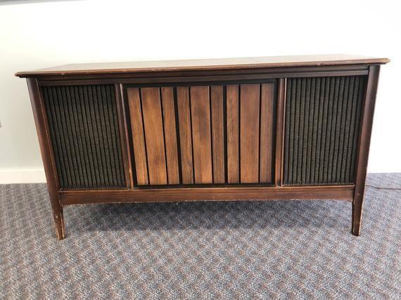 Vintage Danish Modern Record Console Credenza Radio Mid Century 60s Sylvania Ster Modern Record Console Vintage Danish Modern Sideboard Living Room Furniture