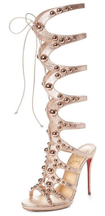 amazoutiful ghillie cage sandal by Christian Louboutin.  #christianlouboutin #nudeshoes #sandals