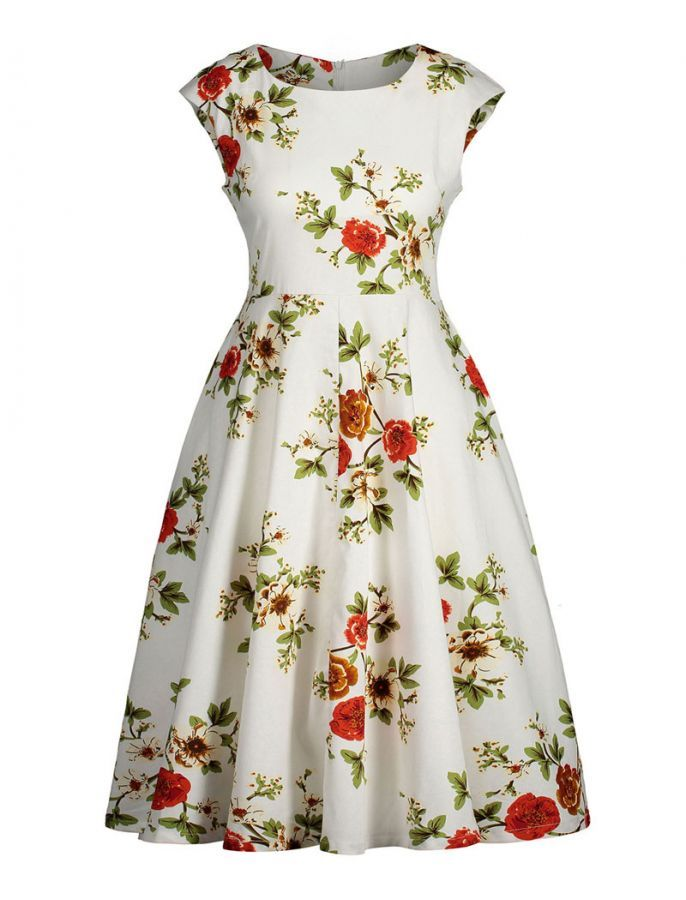 5e75111a7ceb 50s Style Colours of Spring Dress. 50s Style Colours of Spring Dress Plus  Size Vintage ...