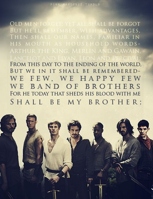This is pure poetry... oh! and from left to right Sir Leon,Sir Percival,King Arthur,Sir Lancelot,Sir Elyan,Sir Gwaine,and Merlin. Rupert Young,Tom Hopper,Bradley James,Santiago Cabrera,Adetomewa Eden(heh,heh..yeah),Eoin Macken(Owen),and Colin Morgan