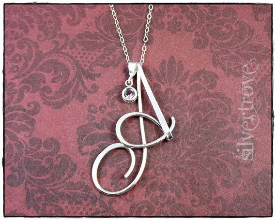 Personalized Calligraphy Script Birthstone Initial Pendant Sterling Silver, 3 sizes, with ... $64.97