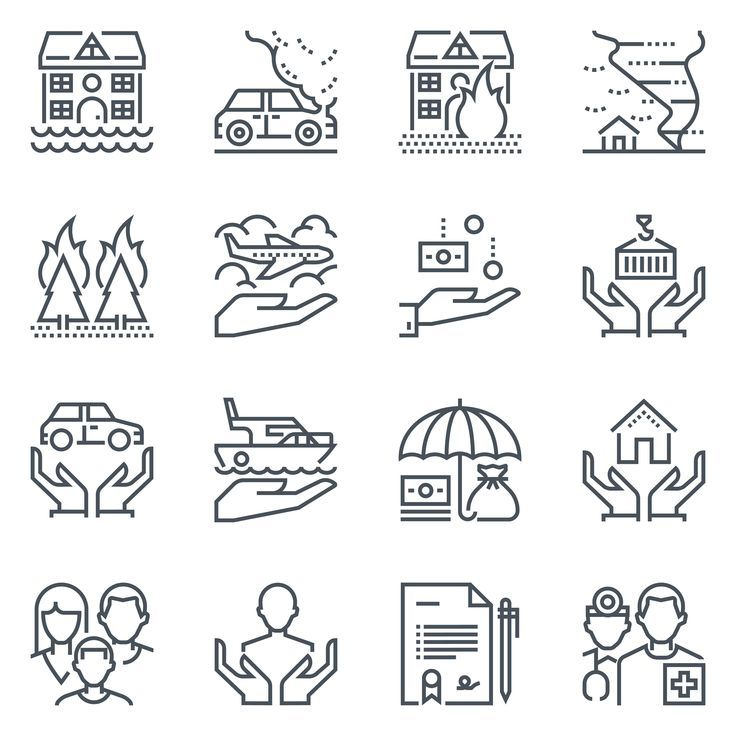 Insurance Icon Set Tree Father Family House Low Car