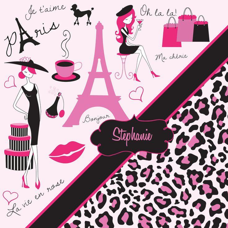 Paris Themed Eiffel Tower and Pink Cheetah Print Bedding.
