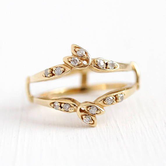 Diamond Wedding Jacket Size 6 5 Engagement Ring Enhancer Vintage 14k Yellow G Yellow Gold Diamond Wedding Band Wedding Ring Jackets Gold Diamond Wedding Band
