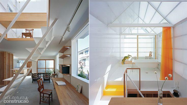 Shimada, do escritório Tato Architects, encontrou um recurso valioso para fechar os anexos no topo desta casa de 120 m² na região montanhosa...