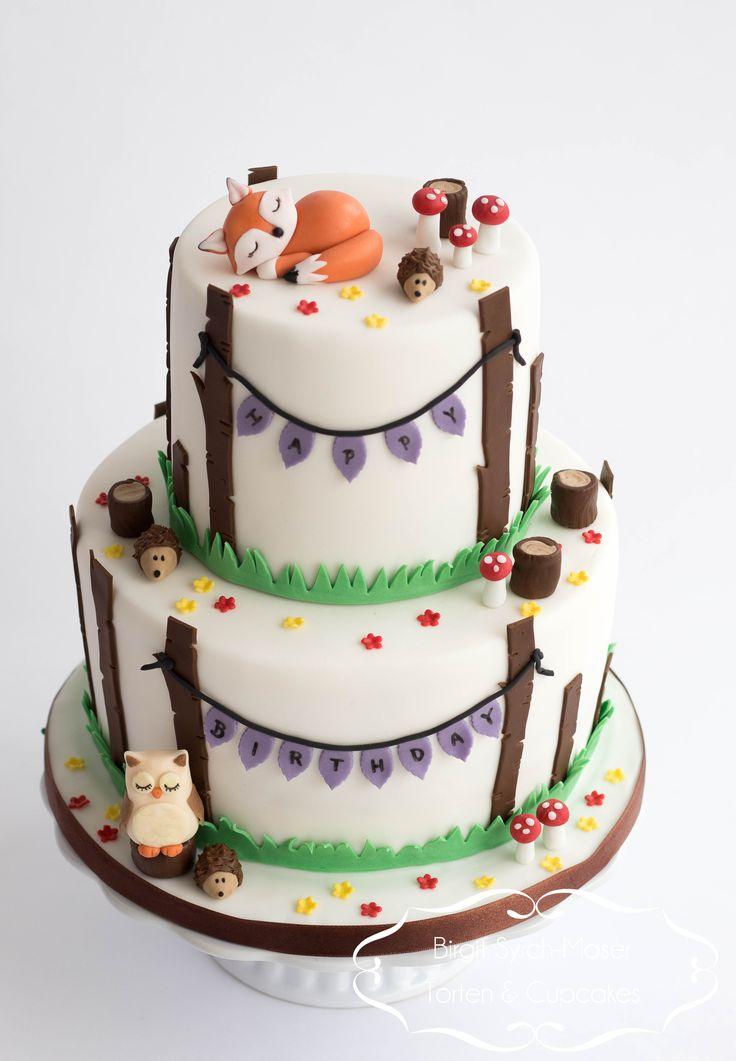 Forest Fox Owl Birthday Cake