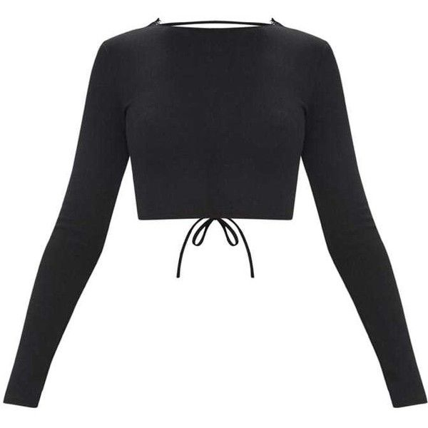 e86818f2cb Black Lace Up Back Long Sleeve Crop Top (€19) ❤ liked on Polyvore featuring  tops