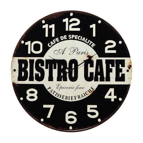 Horloge en m tal noire blanche d 58 cm bistrot parisien inspiration kitchen pinterest for Horloge murale style bistrot