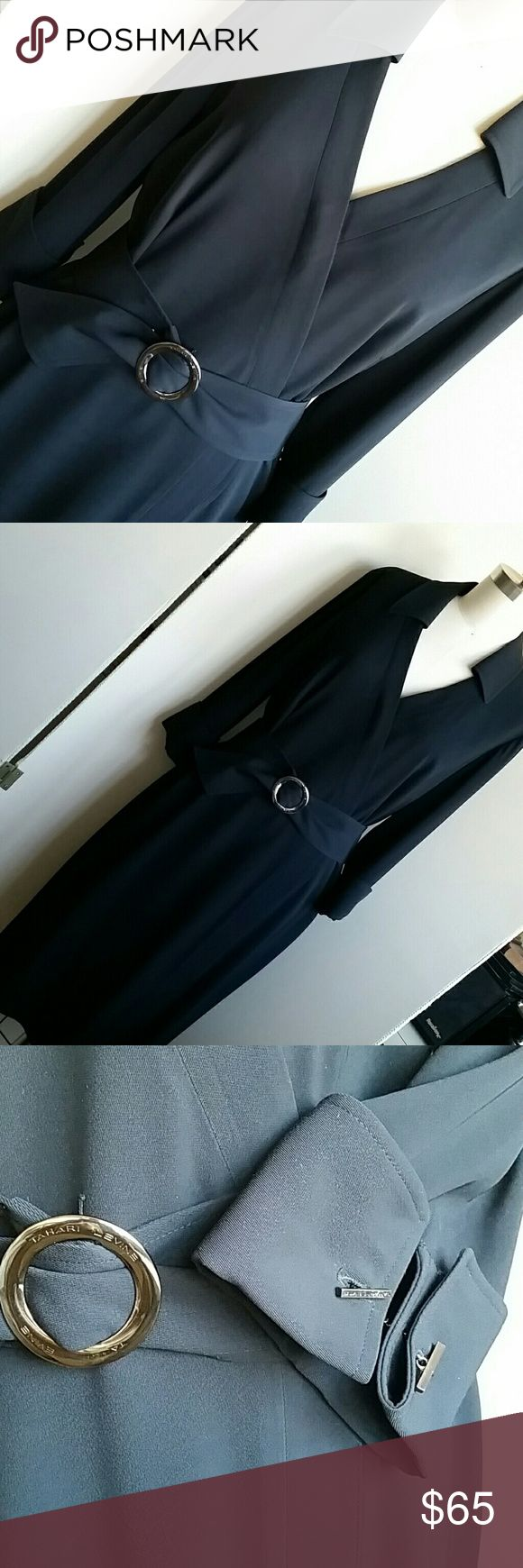 "👣NL Tahari Garbadine Shirt Dress Black Size 10 Beautiful and excellent condition. 40.5"" long, sleeve length approximately 18"" with cuff links and matching gun metal belt buckle. Can be worn with or without belt. tahari  Dresses Midi"