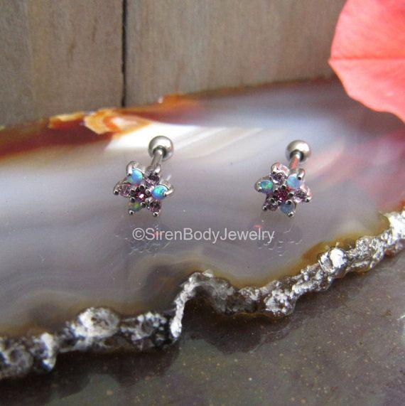 Boucles d'oreilles Cartilage 18g boucles d'oreilles opale rose fleur triple hélice avant tragus oreille perçage d'oreilles anneaux de fleurs corps inox boule arrière goujons