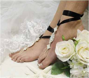 Our rhinestone barefoot sandals are as perfect as true love's kiss. Silver rhinestone barefoot sandals with black satin ribbon for your fairy tale wedding. Enchanted bridal foot jewelry, the ribbon ca