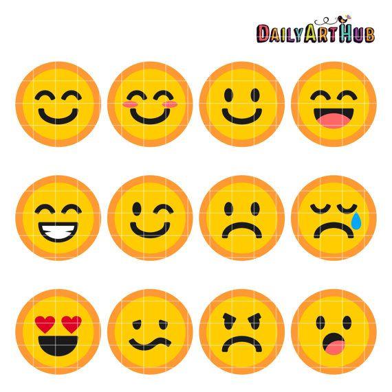 Emoticons Collage Clip Art Emoticons Symbols by DailyArtHub