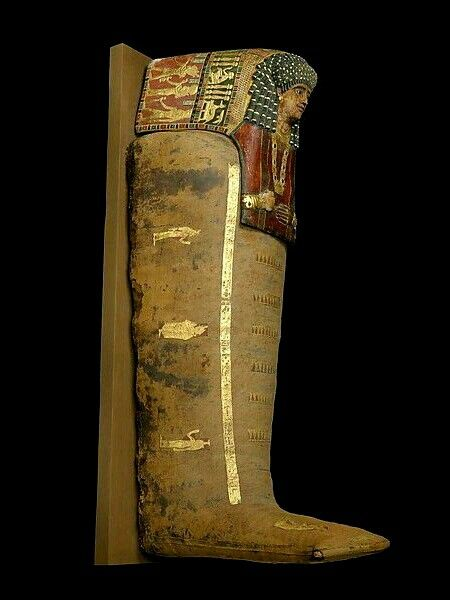 Painted, plastered and gilded cartonnage mummy of Artemidora. Egyptian. Roman Period. 90-100 A.D.