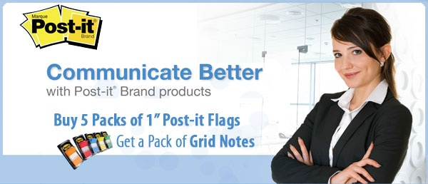 "Get a #free pack of Grid Notes when you purchase 5 packs of 1"" Post-it Flags. Offer valid until May 31, 2013."