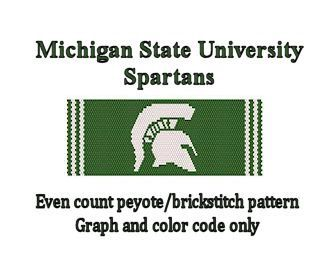 Even count peyote or brickstitch pattern. Finished pattern size approx 1.85 x 6.5 Makes a great cuff bracelet to show your team spirit. Prior knowledge of peyote required. *GRAPH and COLOR CHART ONLY. No peyote stitch or brickstitch instructions or supplies included. *PDF Instant Download file. * Suggested color chart included with graph. Graphed with Miyuki delica beads size 11/0. 1 page download. If you have any problems downloading file, please message me so I can email it to you.