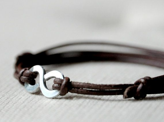 Infinity Bracelet - Brown leather and Aluminium wire - Men and Unisex bracelet - made to order
